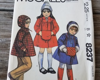 1982's Girl's coat or jacket and Muff pattern size 6