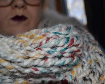 Extra Chunky Cowl : Hudson Bay (scarf, winter, christmas, hannukah, present, warm, wool, acrylic, rainbow, colors, colorful, cheery)