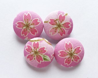 Traditional Japanese Sakura Cherry Blossom Flower Pink Fabric Covered Buttons For Sewing - Set of 4 - 22mm