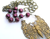 Vintage Butterfly Necklace, Filigree Butterfly Necklace, Burgundy Pearls
