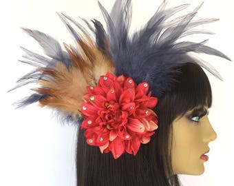 Pink Hair Flower, Feather Fascinator, Great Gatsby, Dramatic Fascinator, OOAK, Blue Fascinator