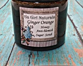 Ginger Orange Honey Anti-Blemish Face Sugar Scrub with Essential Oils and Vitamin C