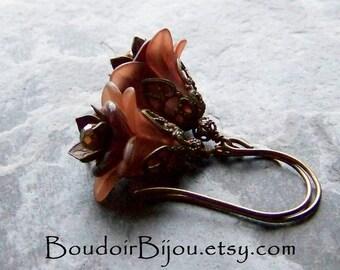 Flower Earrings, Boho Earrings, Dark Flower, Brown Flower Earrings, Bell Flowers, Czech Glass, Crystal Earrings, Boho Jewelry, Earth Tones