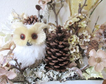 Baby Owl, Birch and Pine Cone Brown and White Neutral Silk Floral Arrangement