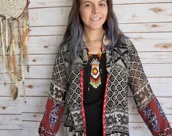 Boho Floral Paisley Tapestry India Print Flowy Sleeve Festival Kimono Sweater One Size