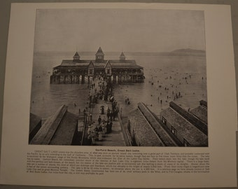 1894 Photography of America - Garfield Beach Great Salt Lake - Antique Victorian Era Fine Art for Framing 100 Years Old