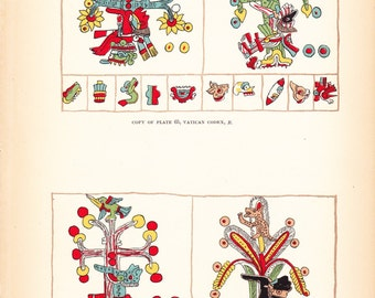 1882 Native American Indian Print - Vatican Codex - Antique Art Illustration Book Plate History Archaeology Ethnology 100 Years Old