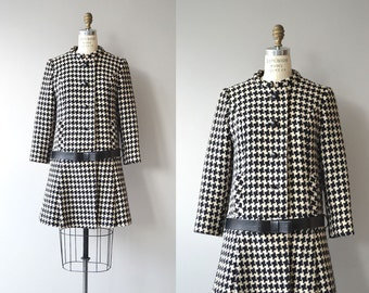 Peabody House coat | vintage 1960s houndstooth coat | mod 60s coat