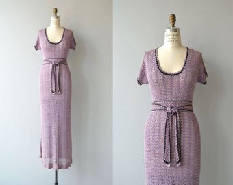 Wisteria crochet dress | 1930s knit dress | vintage 30s crochet dress