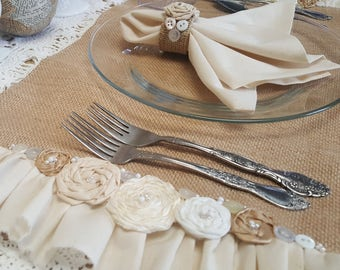 Ready to SHIP-TWO Shabby Chic Burlap Place Mats French Style Rosettes and Ruffles