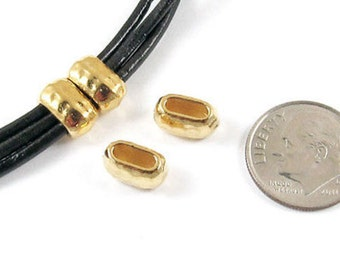 TierraCast Leather Crimp Beads-Bright Gold HAMMERTONE BARREL ID 6X2mm (4)