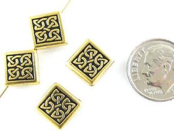 TierraCast Pewter Beads-Gold Medium CELTIC DIAMOND (4)