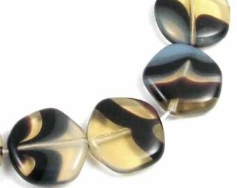 """8"""" Czech Hexagon Coin Beads-TAN & BLACK SWIRL 15mm (14)"""