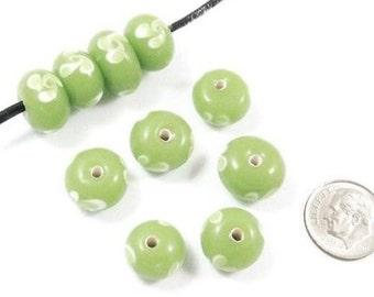 Lampwork Glass Rondelle Beads-GREEN + SWIRL FLOWER (10)
