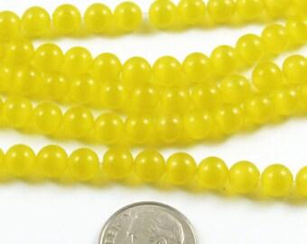 6mm Round Cat Eye Beads-GOLDEN YELLOW (65 beads)