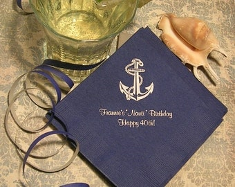 Nautical birthday napkins anchor napkins personalized party napkins set of 50 napkins