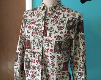 Woodland Pixie - 1960's Scandinavian and Folk Printed Oxford Shirt