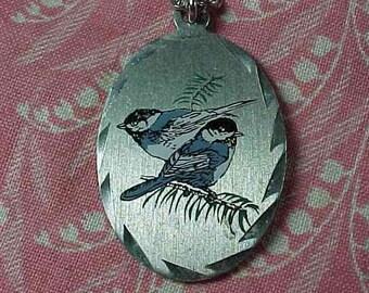 Vintage Pewter Chickadee Birds Pendant Necklace