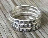 Custom stamped jewelry personalized stackable stacking rings, hand stamped fine silver, silver ring mothers ring Christmas gift