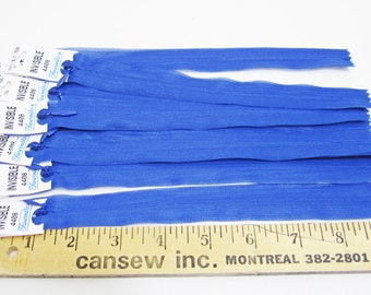 """8 pieces- 9"""" Invisible zippers BLUE"""