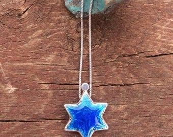 Blue Star of David necklace, enamel Star of David necklace