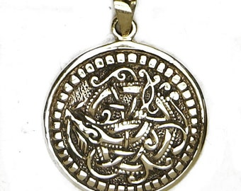 Celtic Pendant Beastie Medallion Solid Golden Bronze Charms Necklaces Historical Accessories Renaissance SCA