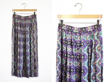 Liz Claiborne Button Front 90's Funky Print High Waist Midi Length Rayon 90's Woman's Skirt