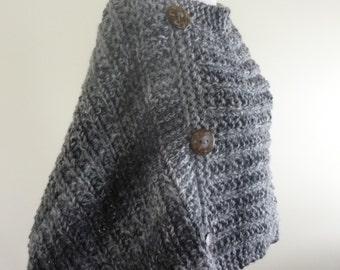 Knit Poncho  Women Teen Poncho Retro Poncho Chunky Knit Boho Poncho Button Trim Tweed Grey Tones Direct Checkout Ready to Ship Gift for Her