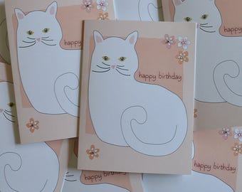 White Birthday Kitty, Cat, Kitty, Birthday Card, sale  For Her, For Him, Wholesale