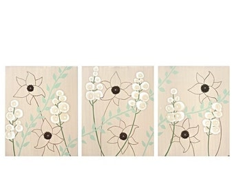 ON SALE Large Flower Painting on Canvas Nature Art - Brown and Green Textured Triptych - Large 50x20