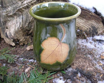 Red Maple Leaf Mug 15 oz.,handmade pottery mug,  leaf mug, ceramic mug, favorite mug