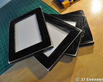 Set of 4 Black Distressed 8x10 Picture Frames with Glass Backing and Mounting Hardware
