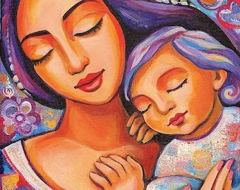 Mother child, motherhood art, nursery wall art, beauty painting, mother son, mother son, feminine decor print 8x11+