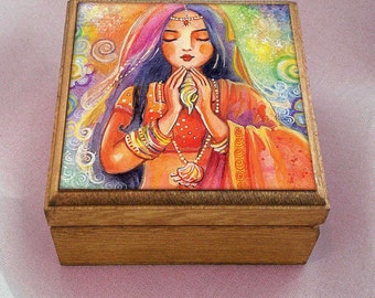 Mermaid art, girl and sea, praying girl painting, pray, spiritual painting,inspirational art, fairy box, jewelry box, 3.5x3.5+
