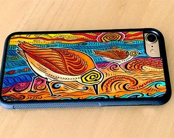 Artistic iPhone Case, 2 Sandpipers Shorebirds, Tropical Art, iPhone 5/5s, iPhone 6/6s, iPhone 6 Plus, iPhone 7, iPhone 7 Plus