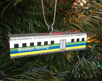 Boston Strong marathon trolley train ornament
