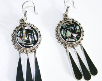 925 Sterling Silver Taxco Abalone Earrings