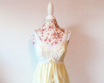 vintage 1950's nightgown // 50's lace bodice // pinup bullet bra slip dress
