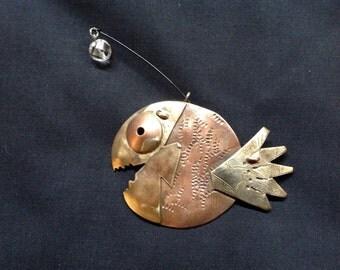 Anglerfish angler fish brooch calder mid century copper retro vintage