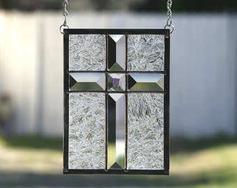 SMALL CLEAR CROSS - Stained Glass Window Panel, Stained Glass Suncatcher, Stain Glass, Clear Bevels, Cross, Christian Cross, Ready to Ship