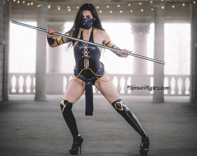 Featured listing image: Latex Mortal Kombat Complete Costume:  includes leotard, arm bands, mask, sash and socks!  Works for Mileena, Jade or Kitana!