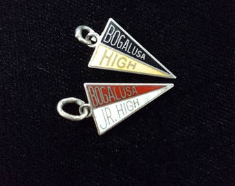 Bogalusa Pennant Charms, Bogalusa High and Bogalusa Junior High, Pair set of 2 Vintage Enamel Charms,  Bogalusa Louisiana