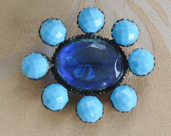 Pretty Antique Victorian Light Blue, Royal Blue Glass, Brass Brooch, early 1900's (O15)