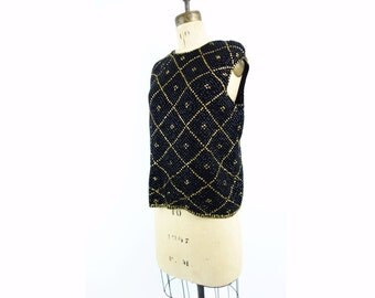 Vintage Beaded Top 60s Black Gold Top Sequin Black Sweater Wool Silk Bead Top 1960s Sequin Shell Holiday Gold Top Black Party Top m