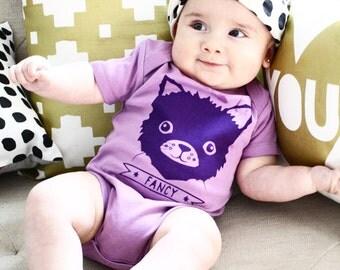 Fancy - hand printed kitten, organic baby bodysuit, baby shower gift, cats, cat lover, present for baby