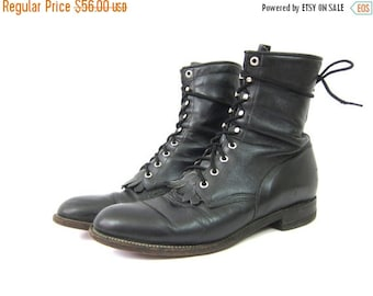 Lace Up Leather Justin ROPERS 80s Black Leather Fringe Boots Western Boots Worn In Country Southwestern Ankle Boots Men's Size 11