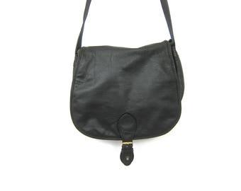 Black Leather Wilson's Purse Large Leather Crossbody Shoulder Purse Satchel Messenger Bag Leather Tote School Bag Vintage Black Purse
