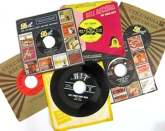 vintage Records Music Decor Vinyl 45s Music Decorations Retro Wedding 6 Vinyl 45 RPM Records Dot Bell Columbia Music Recording