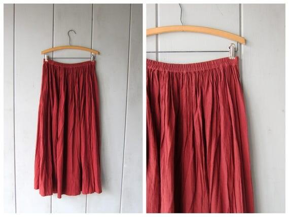 Natural Red Sand Cotton Gauze Skirt 90s Hippie Skirt Semi Sheer Gypsy Skirt Summer Elastic Waist Long Skirt DES Womens size 12 Medium Large