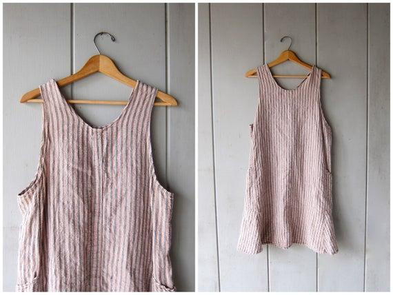 Linen FLAX Dress Minimal Striped Mini Dress Vintage 90s Flax Brand Loose Fit Frock Side Pockets Sun Dress DES Womens Small Medium
